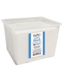 """ForPro Super White Buffing Block, 180 Grit, Four-Sided Manicure and Pedicure Nail Buffer, 3.75"""" L x 1"""" W x 1"""" H, 20-Count"""
