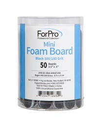 "ForPro Black Mini Foam Boards, 100/180 Grit, Double-Sided Manicure Nail File, 3.5"" L x .5"" W, 50-Count"