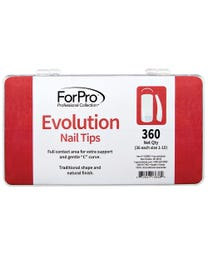 "ForPro Evolution Nail Tips, Artificial Manicure Tips for Acrylic Nails, Full Contact, Gentle ""C"" Curve, 360-Count Tray (36 Each Size 1-10)"