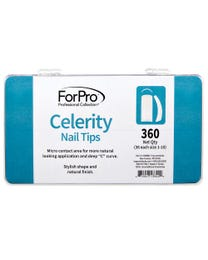 "ForPro Celerity Nail Tips, Artificial Manicure Tips for Acrylic Nails, Micro Contact, Deep ""C"" Curve, 360-Count Tray (36 Each, Size 1-10)"