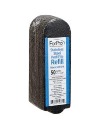 "ForPro Stainless Steel Pedi File Refill, 100 Grit, Black, EZ-Strip Peel Pedicure Refill Pads, 1.25"" W x 4"" L, 50-Count"