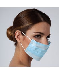Basics Surgical Ear Loop Mask, 3-Ply Non-Woven Facial Mask, Hypoallergenic, Fiberglass and Latex-Free, 50-count
