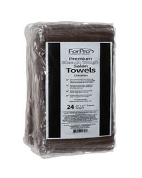 "ForPro Premium Bleach Tough Salon Towels, Chocolate, 100% Cotton, Bleach-Proof, Stain Resistant, 16"" W x 27"" L, 24-Count"