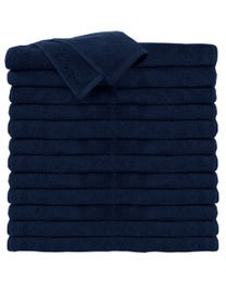 ForPro Premium 100% Cotton All-Purpose Towels, Navy Blue, Extra Soft Multi-Purpose Salon, 16 inches W x 27 inches L, 24-Ct