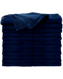 ForPro Premium Bleach Tough Salon Towels, Navy Blue, 100% Cotton, Bleach-Proof, Stain Resistant, 16 in W x 27 in L, 24-Ct