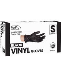 ForPro Black Powder-Free Vinyl Gloves, Industrial Grade, Latex-Free, Non-Sterile, Food Safe, 2.75 Mil. Palm, 3.9 Mil. Finger, Small, 100-Count