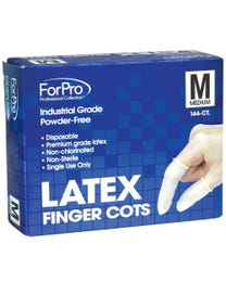 ForPro Latex Finger Cots, Industrial Grade, Powder-Free, Non-Chlorinated, 4 Mil., Medium, 144-Count