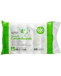 "ForPro Premium Cotton Rounds, 100% Cotton, Non-Tearing, Lint-Free, for Cosmetic, Nail, and Personal Use, 2.25"", 600-Count (Pack of 6 - 100 Cotton Rounds)"