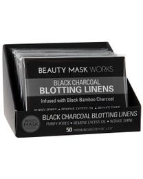 Beauty Mask Works Black Charcoal Blotting Linens 600-Count (Pack of 12 – 50 Blotting Linens)
