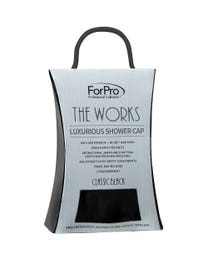 ForPro The Works Luxurious Shower Cap with Travel Bag, Classic Black, 100% Waterproof, Antibacterial and Frizz-Free