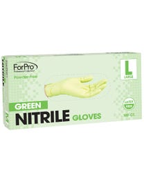 ForPro Green Nitrile Gloves, Powder-Free, Latex-Free, Non-Sterile, Food Safe, 3 Mil., Large Box