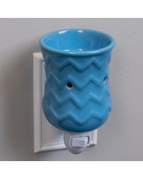 "Ocean Waves Ceramic Plug-In Wax Melter & Essential Oil Diffuser, Easy-Clean, 3"" Round x 5.25"" H"