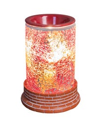 """Hearts of Fire Mosaic Halogen Wax Melter, LED Timer Always On, 2 Hour, 4 Hour, 6 Hour Time Settings, 5"""" Round x 7"""" H"""