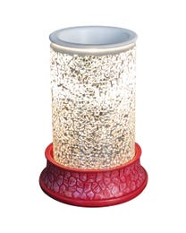 """Diamonds Forever Mosaic Halogen Wax Melter, LED Timer Always On, 2 Hour, 4 Hour, 6 Hour Time Settings, 5"""" Round x 7"""" H"""