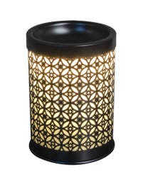 """Serenade Metal Halogen Wax Melter, LED Timer Always On, 2 Hour, 4 Hour, 6 Hour Time Settings, 4.25"""" Round x 5.75"""" H"""