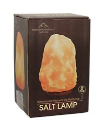 "Pure Himalayan Salt Works 100% Natural Himalayan Salt Lamp, Pink Crystal Salt Lamp with Wooden Base, Includes 15W Bulb and 6-Foot Cord with On/Off Switch, 9-13.5 Lbs., 8"" H"
