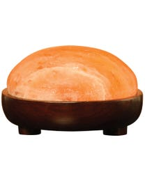Pure Himalayan Salt Works Authentic Salt Dome, Pink Crystal Dome with Natural Rosewood Base, 9 in Round x 5 in H