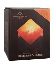 "Pure Himalayan Salt Works Illumination Cube, Pink Crystal Salt Lamp with Neem and Hand-Stained Mounted Base, Includes 15W Bulb and Toggle On/Off Switch, 6"" L x 6"" W x 7"" H"