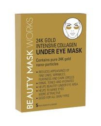 Beauty Mask Works 24K Gold Intensive Collagen Under Eye Mask, Contains Pure 24K Gold Nano-Particles, for All Skin Types, 5-Pair