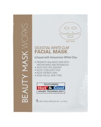 Beauty Mask Works Celestial White Clay Facial Mask, Infused with Amazonian White Clay, Features Hot and Cold Mask Technology, for All Skin Types, 3-Count, 2-pack