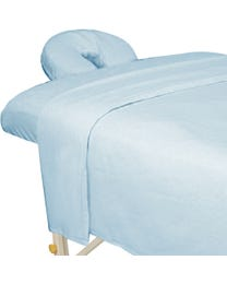 ForPro Premium Flannel Sheet 3-Piece Set, Powder Blue, for Massage Tables, Includes Flat Sheet, Fitted Sheet, and Fitted Face Rest Cover