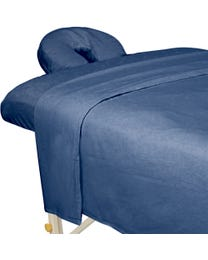 ForPro Premium Flannel Sheet 3-Piece Set, Ocean Blue, for Massage Tables, Includes Flat Sheet, Fitted Sheet, and Fitted Face Rest Cover