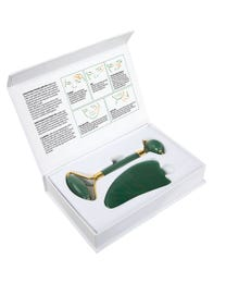 ForPro 100% Natural Jade Stone Set Includes Adventurine Jade Roller and Gua Sha Stone for Reducing Wrinkles and Improving Skin Tone