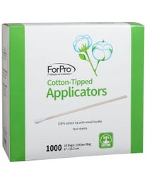 """ForPro Cotton-Tipped Applicators with Wood Handle, 100% Cotton, Single-Tip, Non-Sterile, 6"""" L, 1000-Count (10 Bags – 100 Applicators)"""
