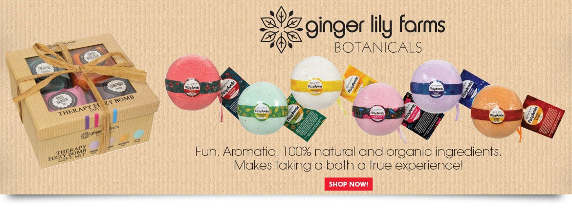 Ginger Lily Farms Botanicals Fizzy Bombs Fun, Aromatic. 100% natural and organci ingredients. Makes taking a bath a true experience!