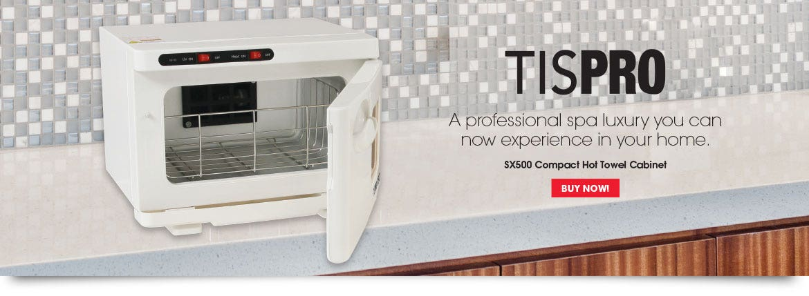 TISPRO SX500 Compact Hot Towel Cabinet. A professional spa luxury you can now experience in your home.